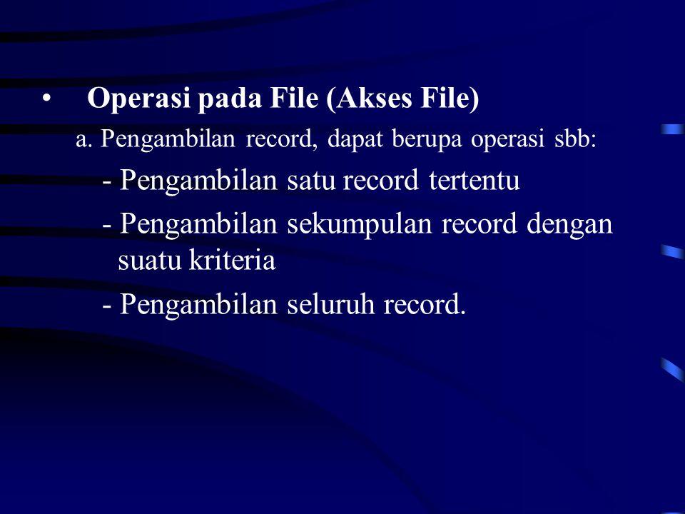 Operasi pada File (Akses File) - Pengambilan satu record tertentu