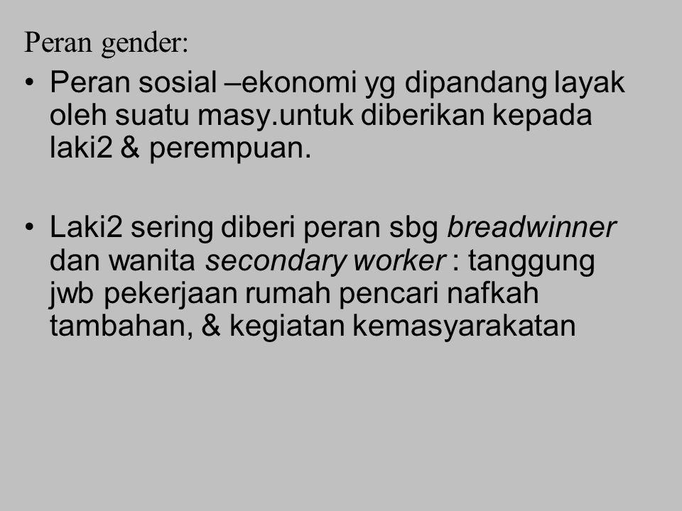 Peran gender: Peran sosial –ekonomi yg dipandang layak oleh suatu masy.untuk diberikan kepada laki2 & perempuan.