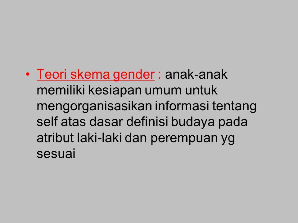 Teori skema gender : anak-anak memiliki kesiapan umum untuk mengorganisasikan informasi tentang self atas dasar definisi budaya pada atribut laki-laki dan perempuan yg sesuai