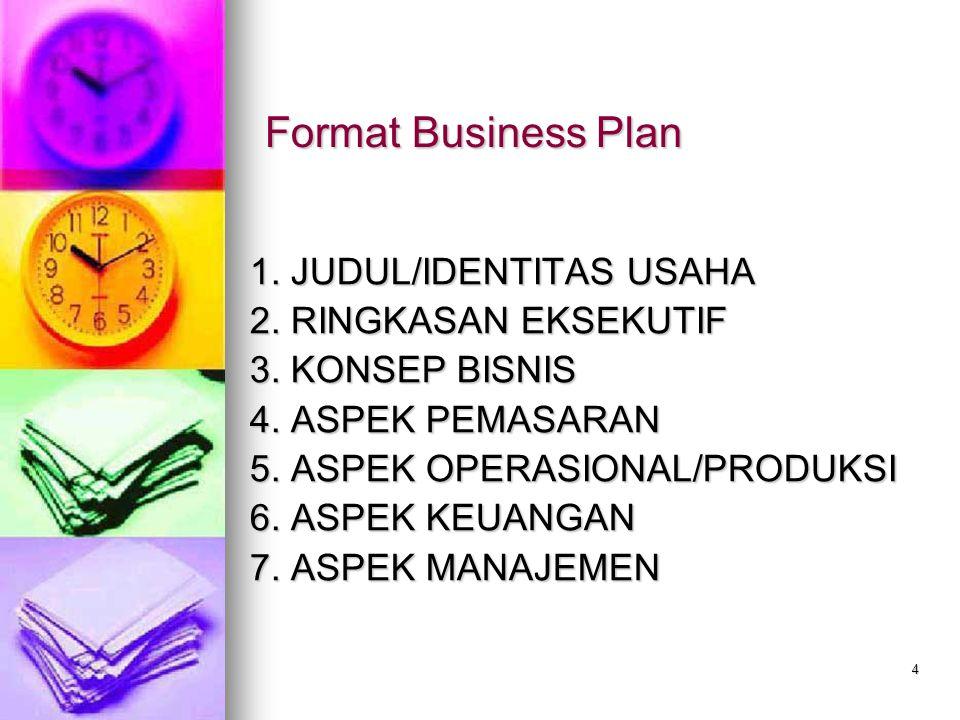 Format Business Plan 1. JUDUL/IDENTITAS USAHA 2. RINGKASAN EKSEKUTIF
