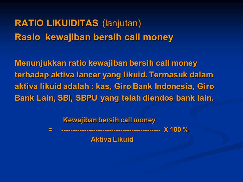 RATIO LIKUIDITAS (lanjutan) Rasio kewajiban bersih call money