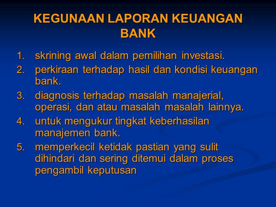 KEGUNAAN LAPORAN KEUANGAN BANK