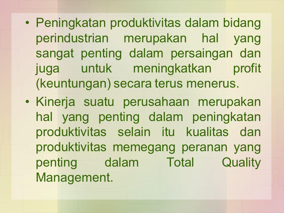 Peningkatan produktivitas dalam bidang perindustrian merupakan hal yang sangat penting dalam persaingan dan juga untuk meningkatkan profit (keuntungan) secara terus menerus.