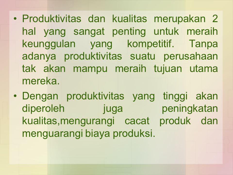 Produktivitas dan kualitas merupakan 2 hal yang sangat penting untuk meraih keunggulan yang kompetitif. Tanpa adanya produktivitas suatu perusahaan tak akan mampu meraih tujuan utama mereka.