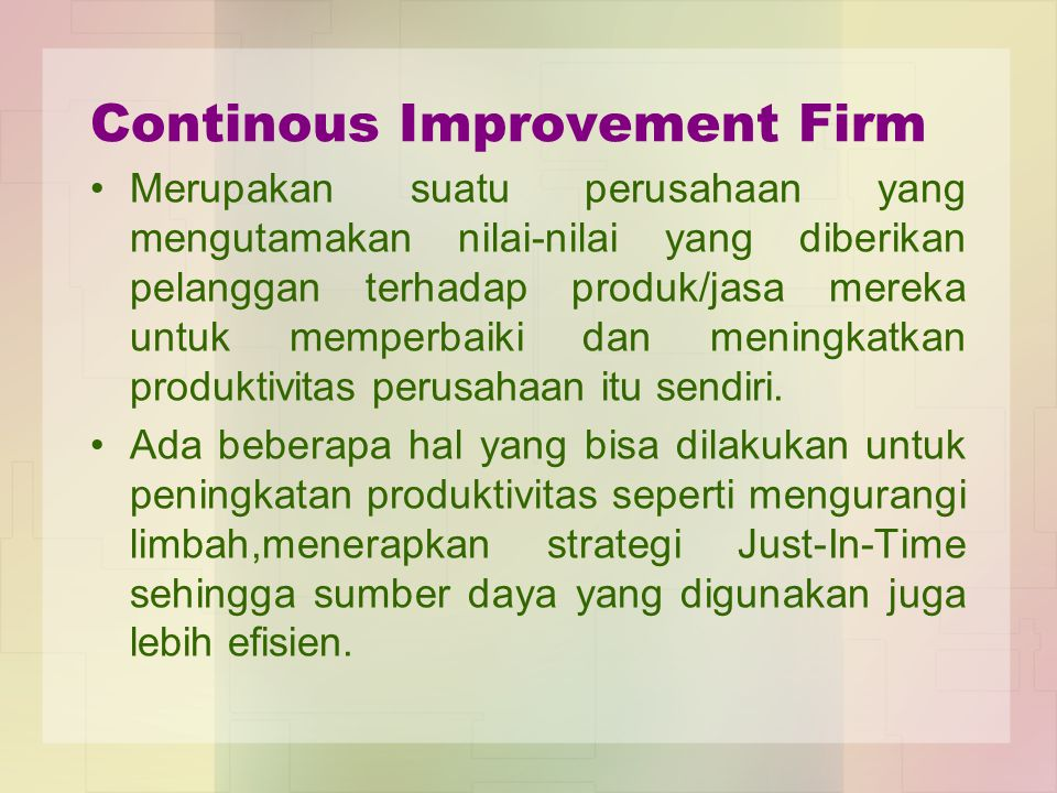 Continous Improvement Firm