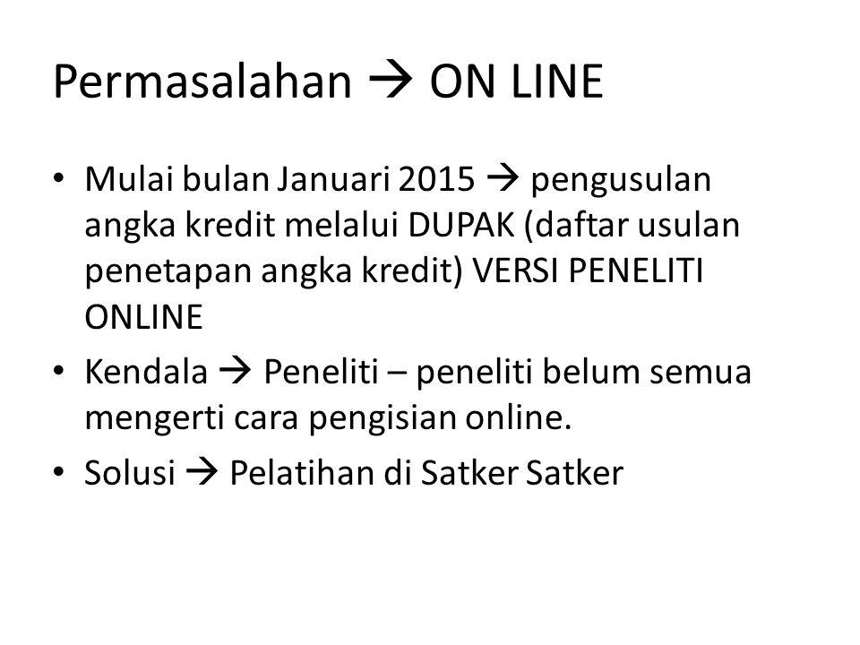 Permasalahan  ON LINE Mulai bulan Januari 2015  pengusulan angka kredit melalui DUPAK (daftar usulan penetapan angka kredit) VERSI PENELITI ONLINE.