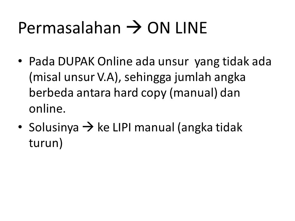 Permasalahan  ON LINE