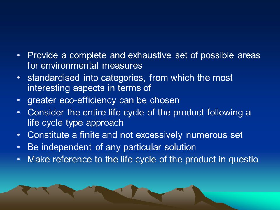 Provide a complete and exhaustive set of possible areas for environmental measures