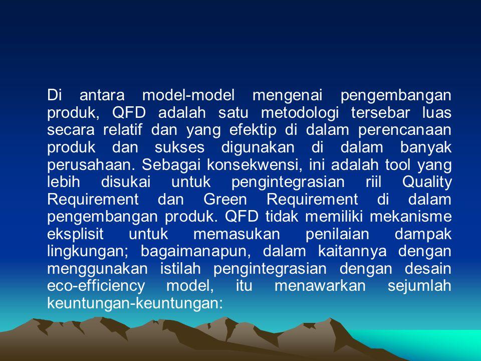 Di antara model-model mengenai pengembangan produk, QFD adalah satu metodologi tersebar luas secara relatif dan yang efektip di dalam perencanaan produk dan sukses digunakan di dalam banyak perusahaan.