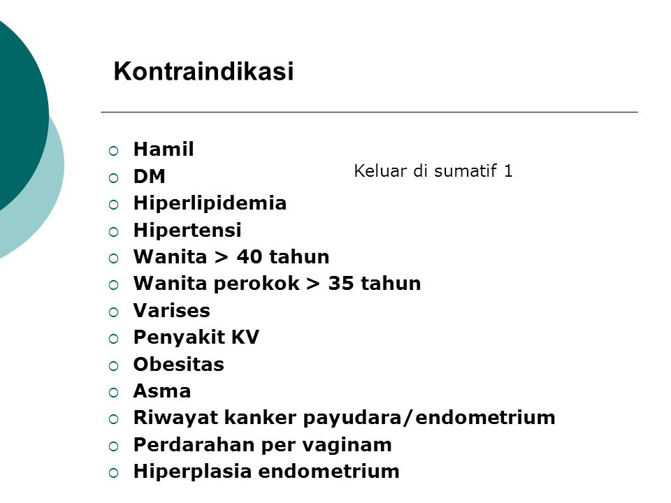 Kontraindikasi Hamil DM Hiperlipidemia Hipertensi Wanita > 40 tahun