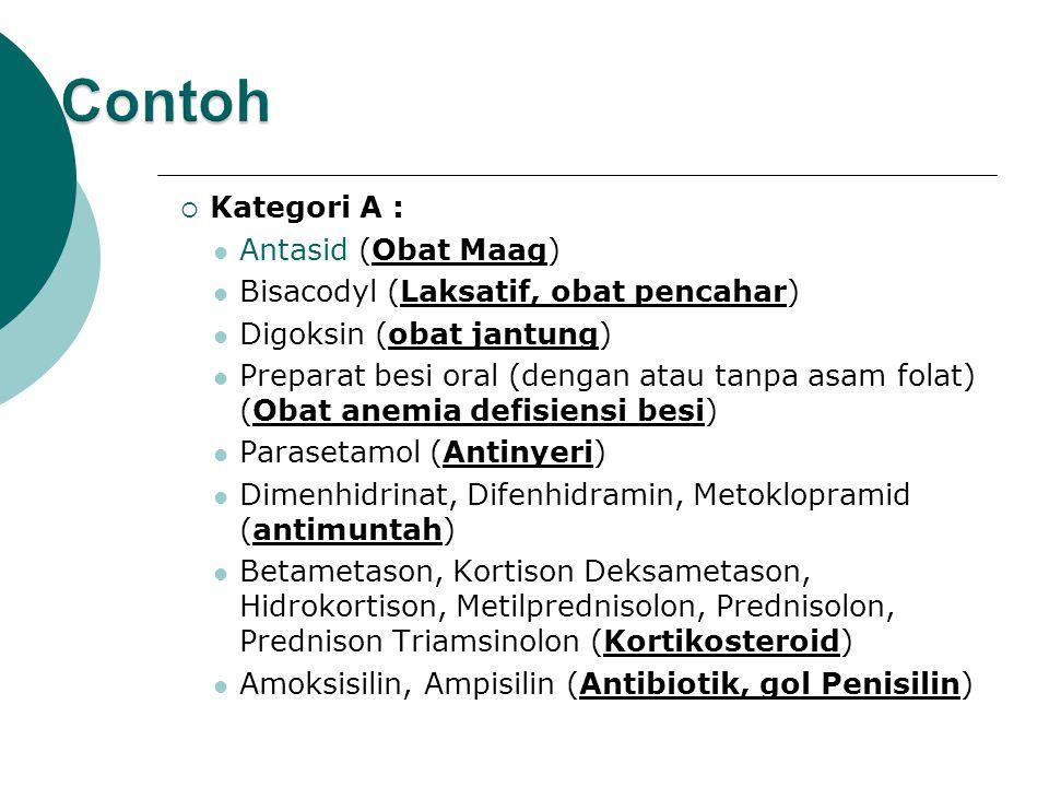 Contoh Kategori A : Antasid (Obat Maag)