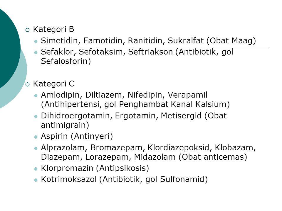 Kategori B Simetidin, Famotidin, Ranitidin, Sukralfat (Obat Maag) Sefaklor, Sefotaksim, Seftriakson (Antibiotik, gol Sefalosforin)