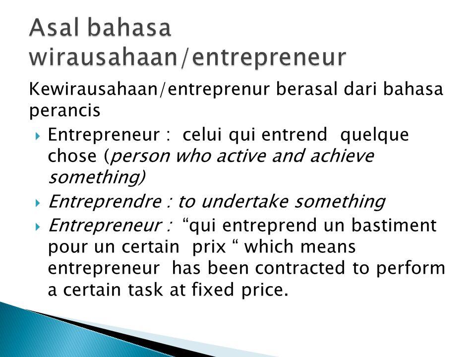 Asal bahasa wirausahaan/entrepreneur