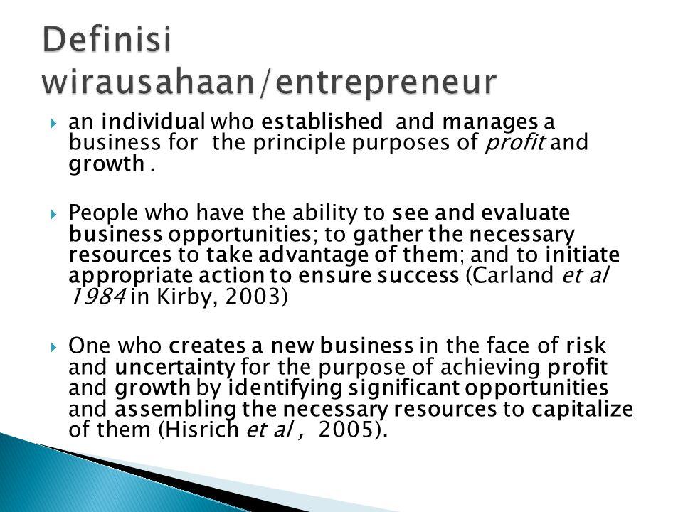 Definisi wirausahaan/entrepreneur