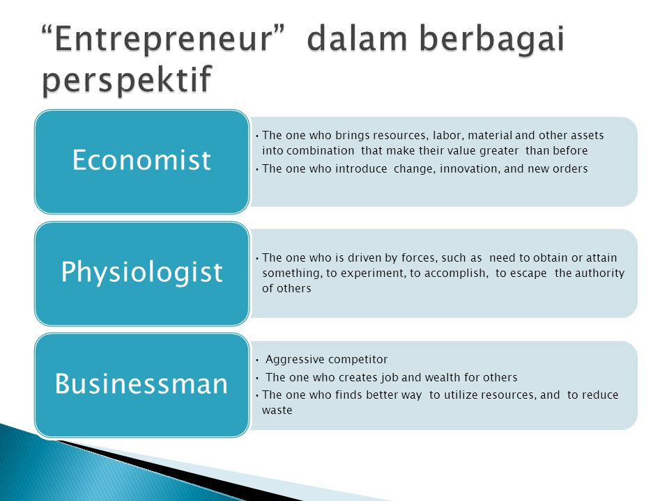 Entrepreneur dalam berbagai perspektif