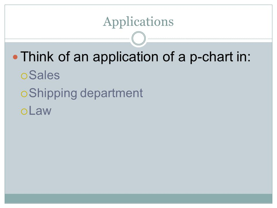 Think of an application of a p-chart in: