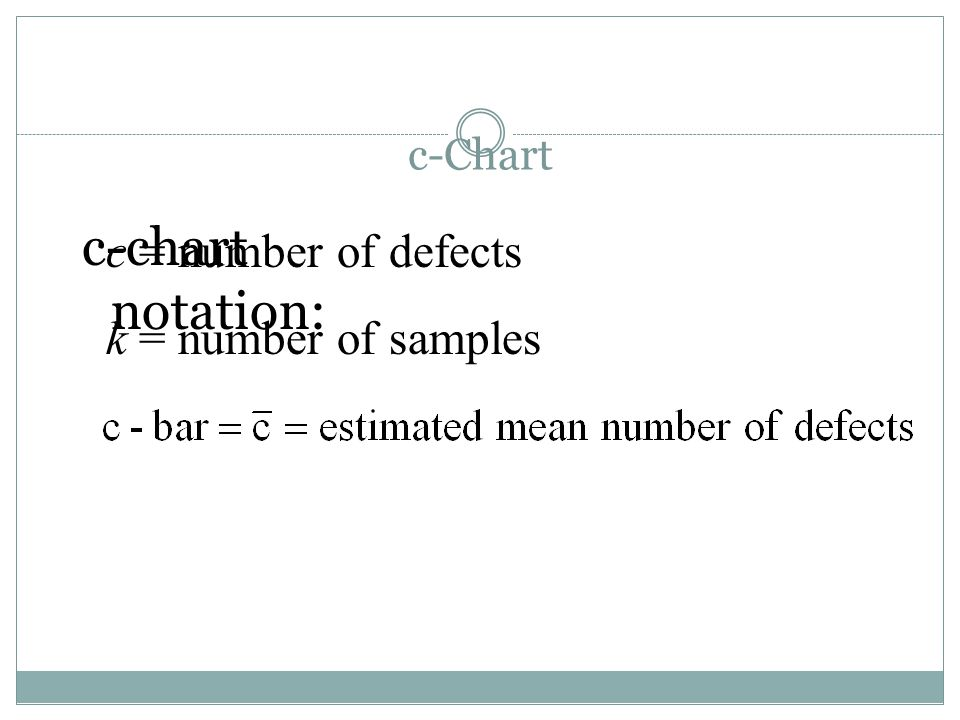 c-Chart c-chart notation: c = number of defects k = number of samples