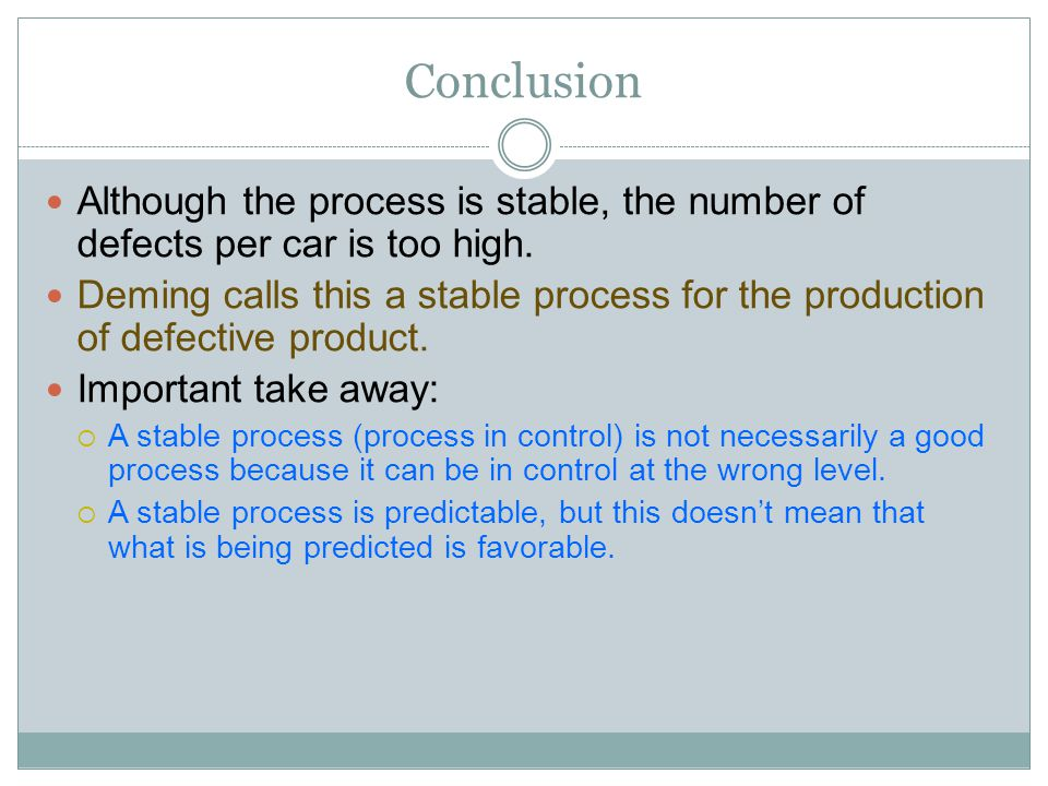 Conclusion Although the process is stable, the number of defects per car is too high.