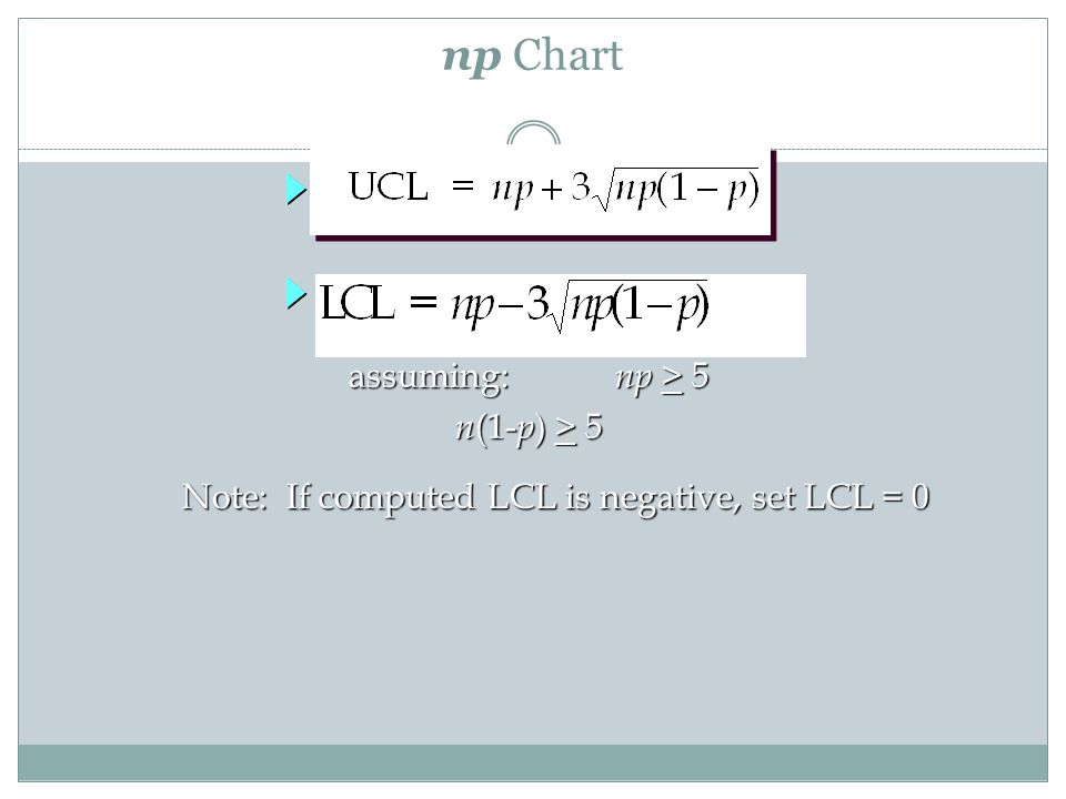 Note: If computed LCL is negative, set LCL = 0