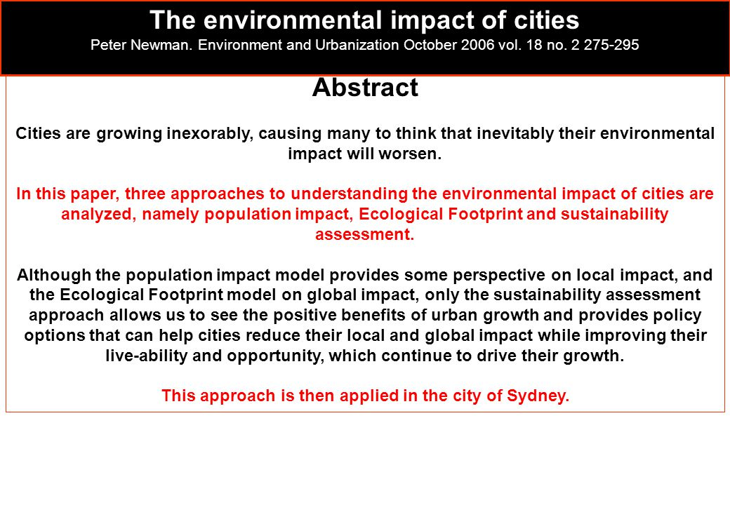 The environmental impact of cities Abstract