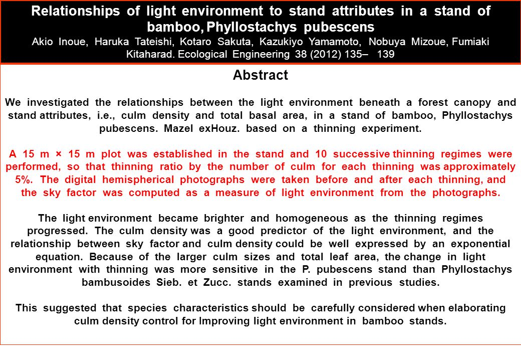Relationships of light environment to stand attributes in a stand of bamboo, Phyllostachys pubescens