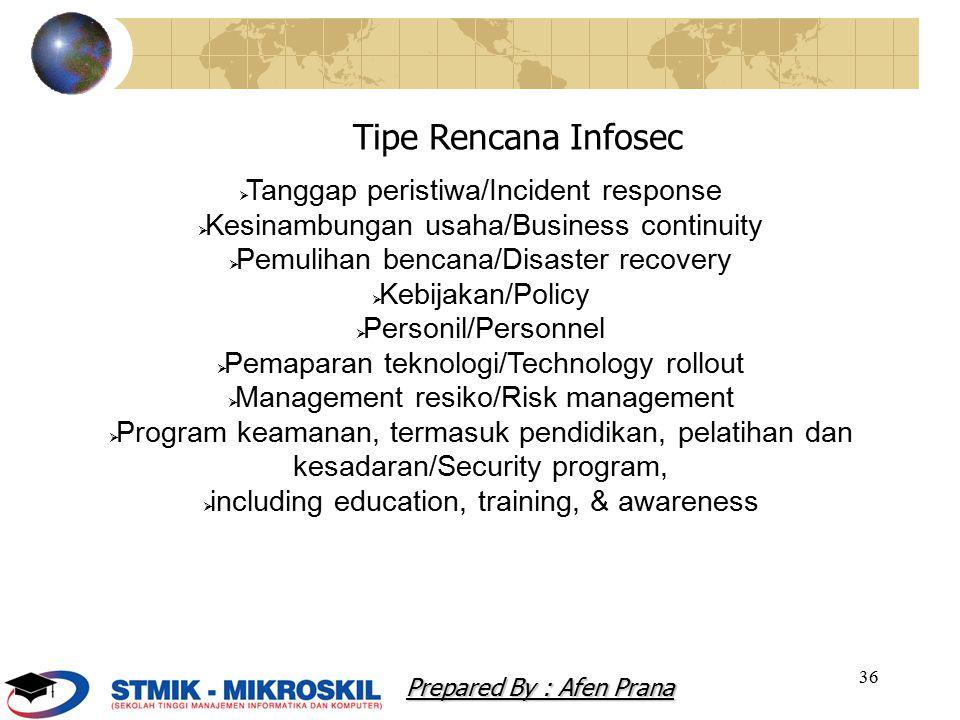 Tipe Rencana Infosec Tanggap peristiwa/Incident response
