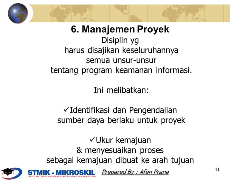 6. Manajemen Proyek Disiplin yg harus disajikan keseluruhannya