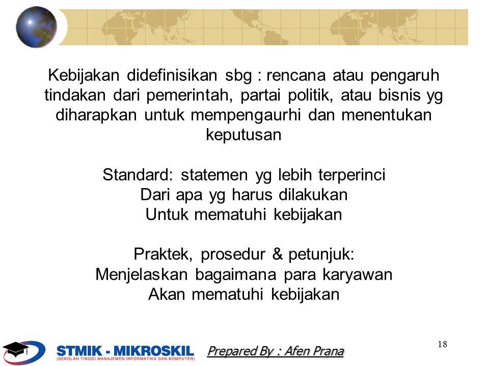 Standard: statemen yg lebih terperinci Dari apa yg harus dilakukan