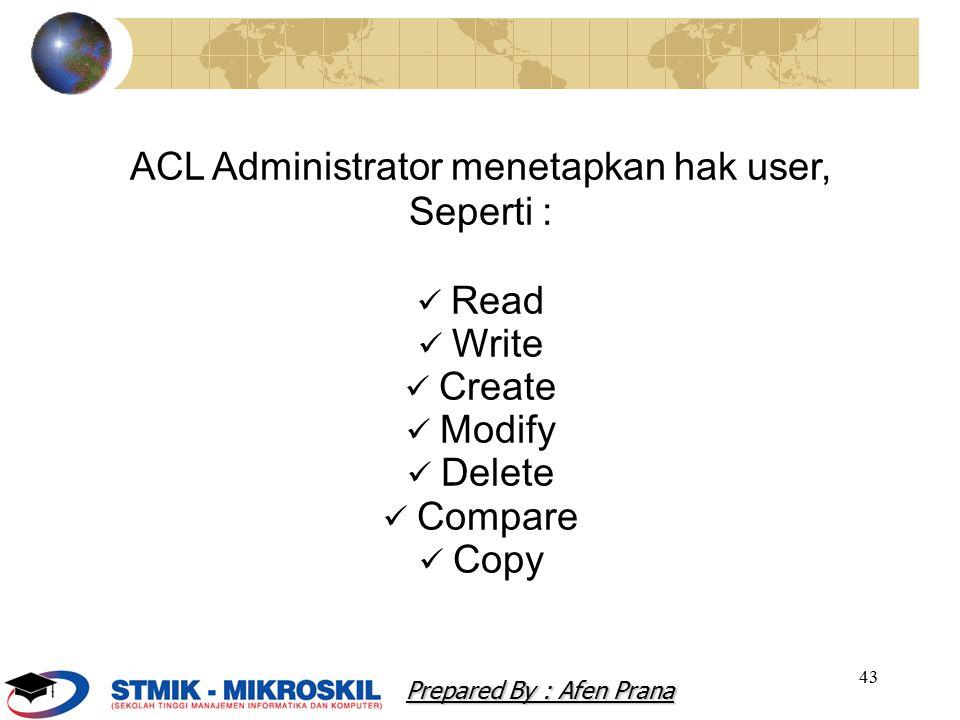 ACL Administrator menetapkan hak user,