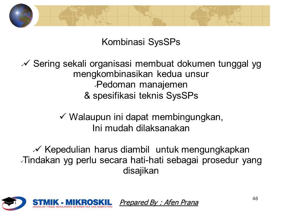 & spesifikasi teknis SysSPs  Walaupun ini dapat membingungkan,