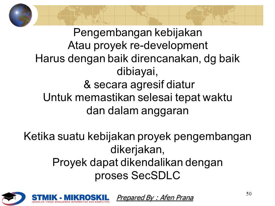 Pengembangan kebijakan Atau proyek re-development