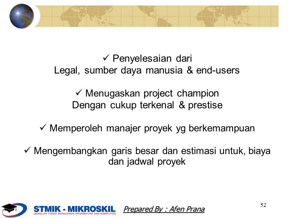 Legal, sumber daya manusia & end-users