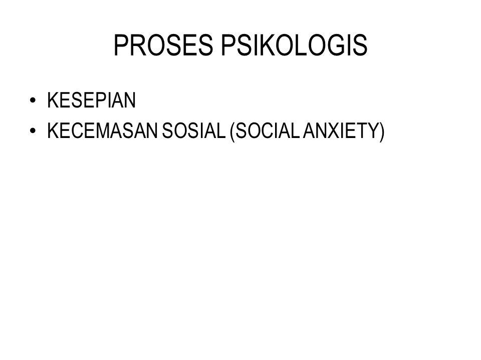 PROSES PSIKOLOGIS KESEPIAN KECEMASAN SOSIAL (SOCIAL ANXIETY)