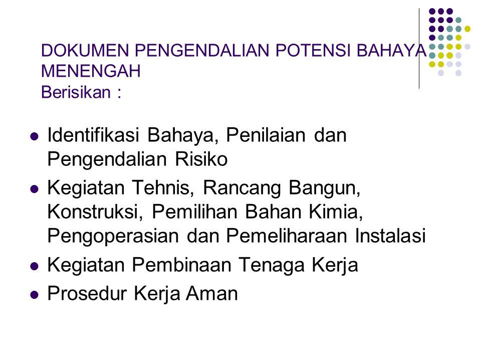 DOKUMEN PENGENDALIAN POTENSI BAHAYA MENENGAH Berisikan :