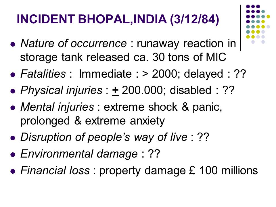 INCIDENT BHOPAL,INDIA (3/12/84)