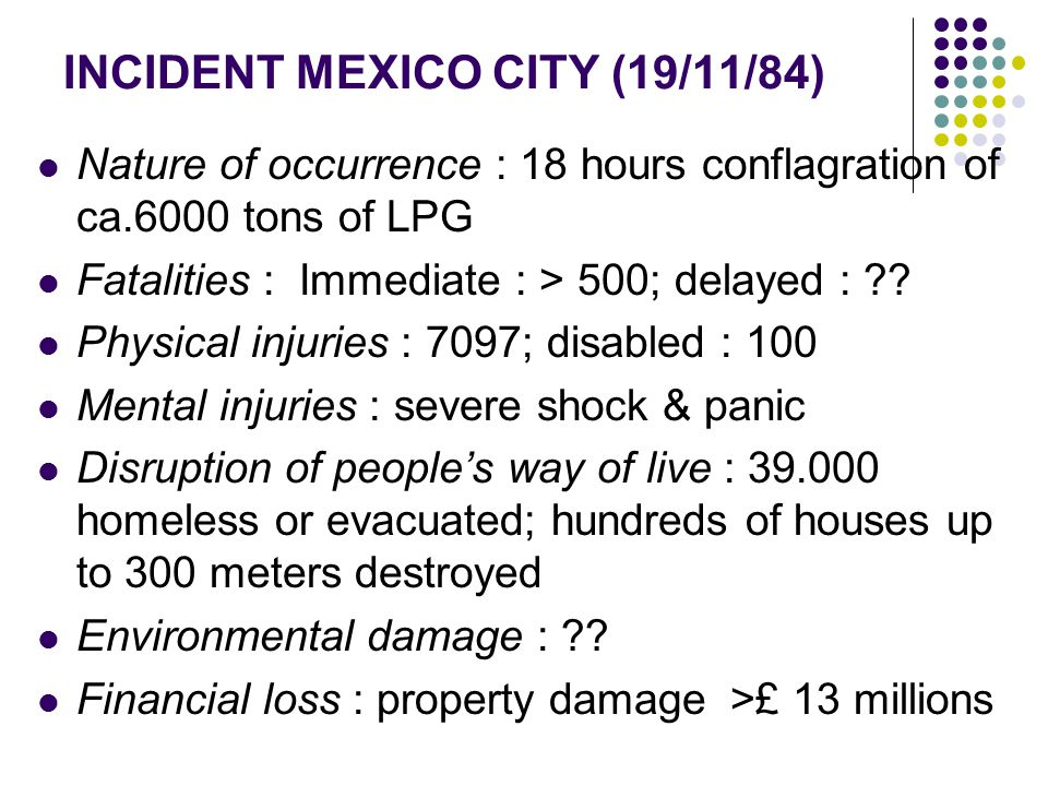 INCIDENT MEXICO CITY (19/11/84)