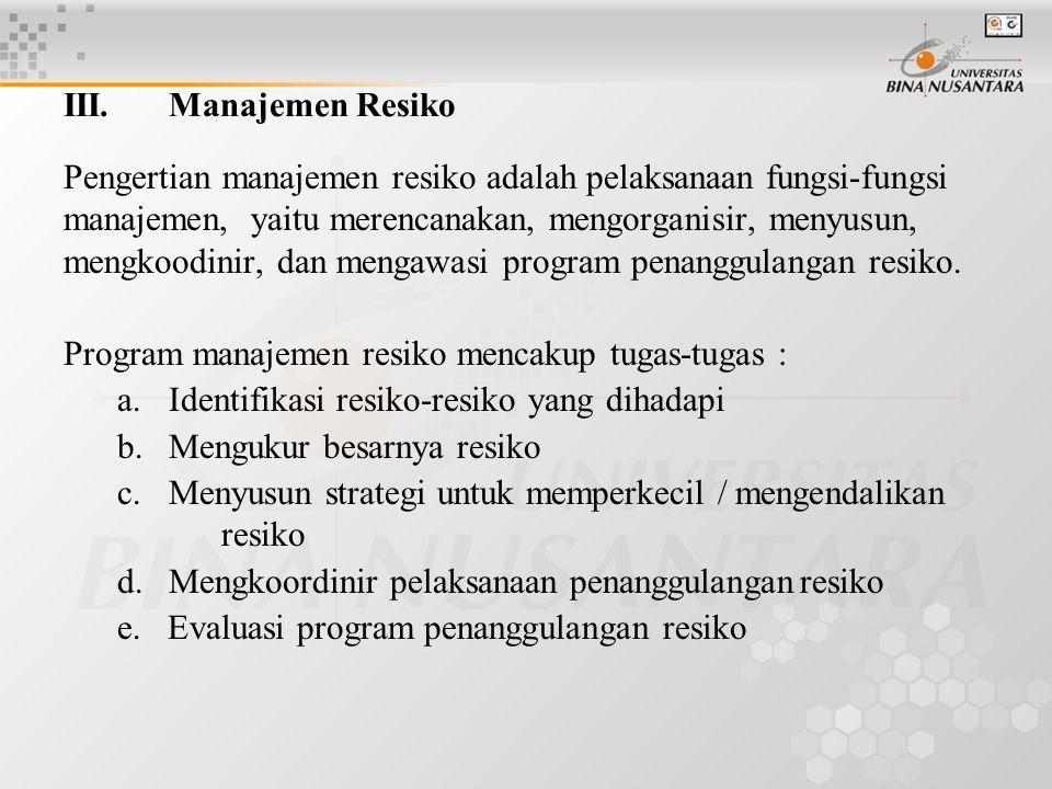 III. Manajemen Resiko