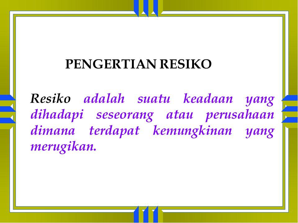 PENGERTIAN RESIKO Resiko adalah suatu keadaan yang dihadapi seseorang atau perusahaan dimana terdapat kemungkinan yang merugikan.