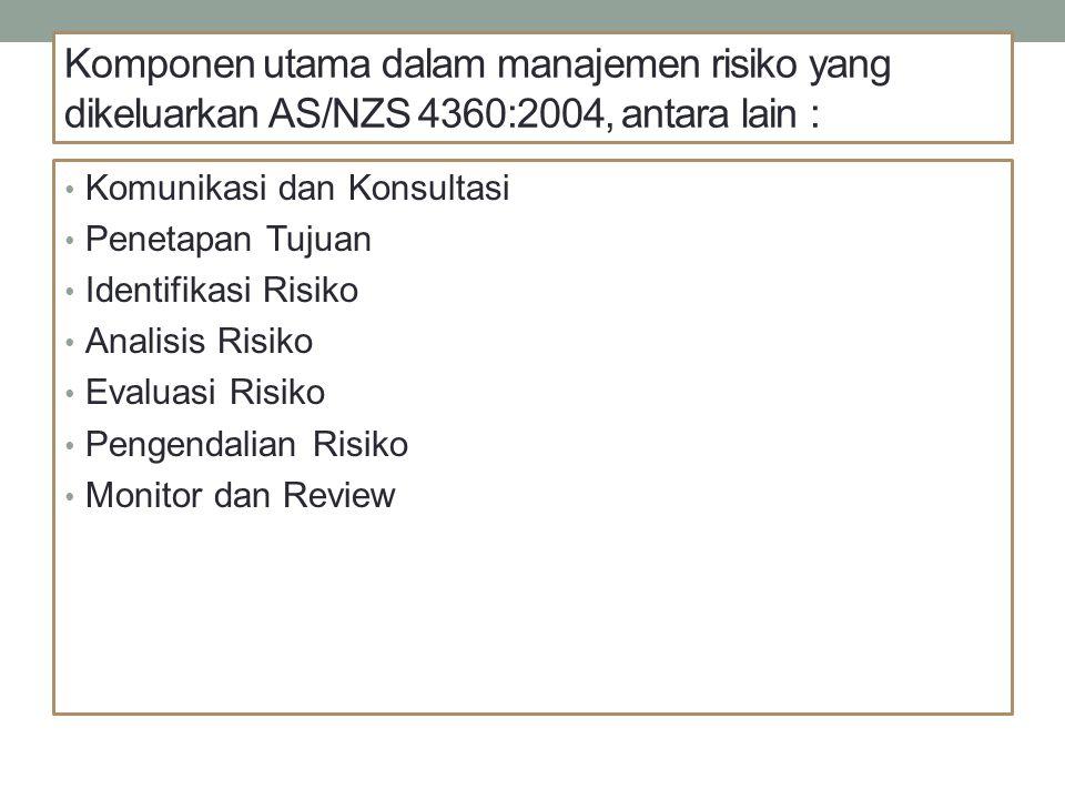 Komponen utama dalam manajemen risiko yang dikeluarkan AS/NZS 4360:2004, antara lain :
