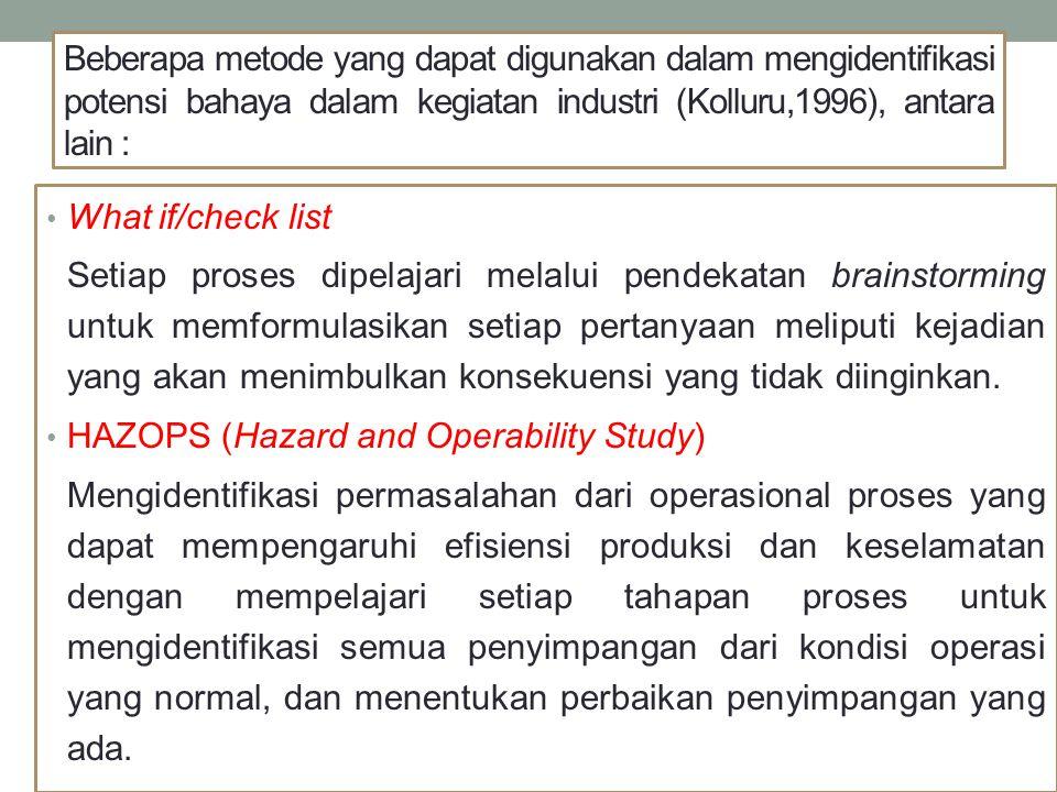 Beberapa metode yang dapat digunakan dalam mengidentifikasi potensi bahaya dalam kegiatan industri (Kolluru,1996), antara lain :
