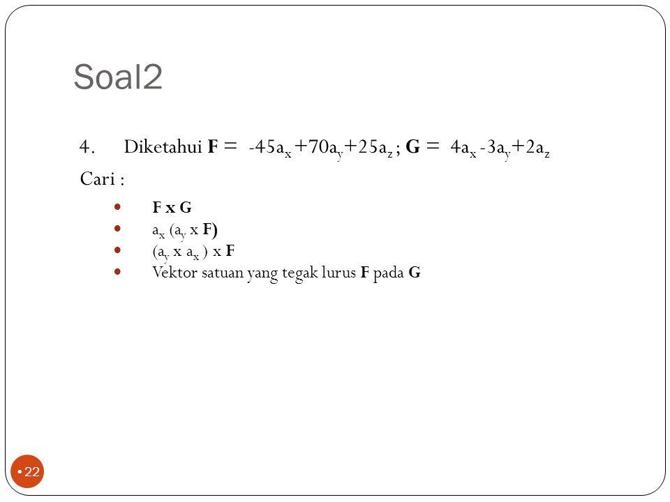 Soal2 215ax+190ay-145az -45ay -70ax-45ay +- (0,669ax+0,591ay-0,451az)