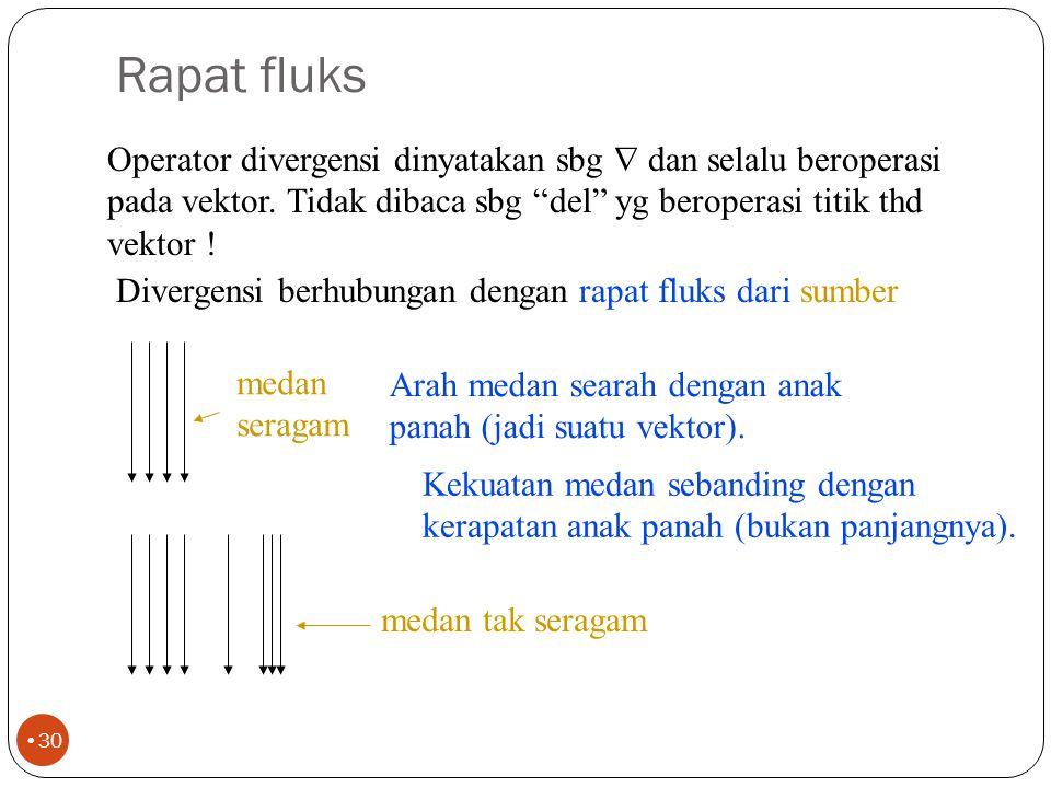 Rapat fluks Operator divergensi dinyatakan sbg  dan selalu beroperasi pada vektor. Tidak dibaca sbg del yg beroperasi titik thd vektor !