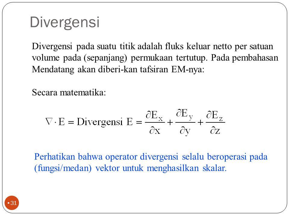 Divergensi Divergensi pada suatu titik adalah fluks keluar netto per satuan. volume pada (sepanjang) permukaan tertutup. Pada pembahasan.
