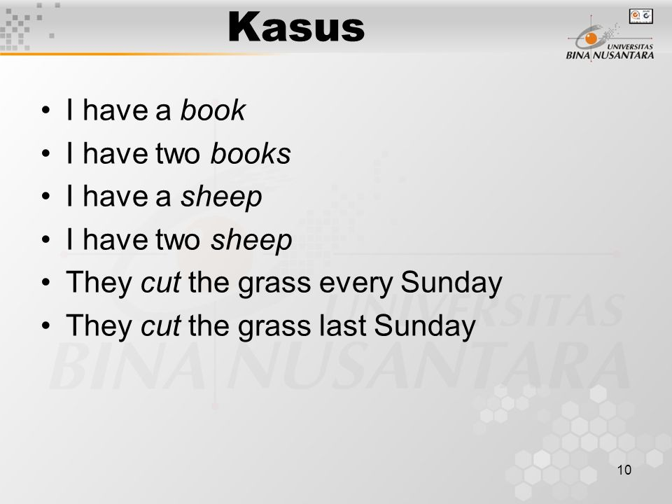 Kasus I have a book I have two books I have a sheep I have two sheep