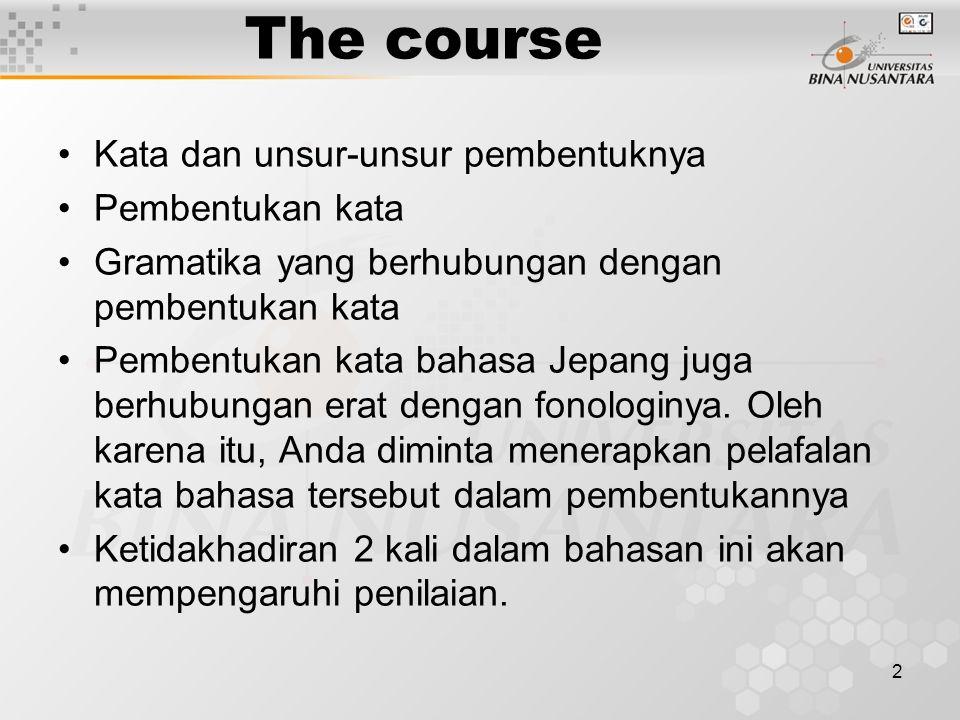 The course Kata dan unsur-unsur pembentuknya Pembentukan kata