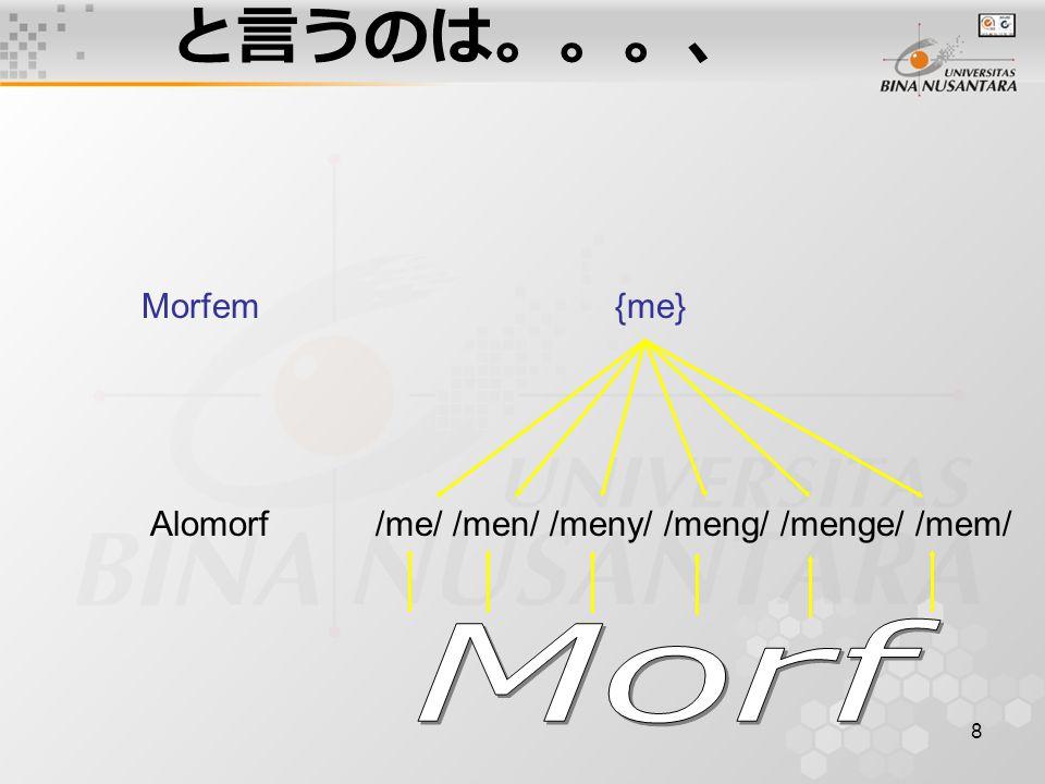 と言うのは。。。、 Morf Morfem {me}