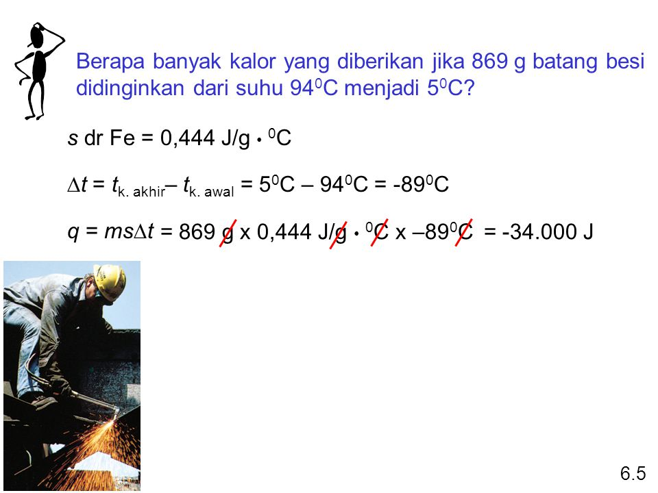 Dt = tk. akhir– tk. awal = 50C – 940C = -890C