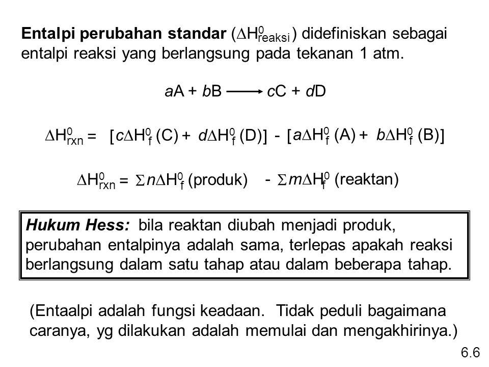 Entalpi perubahan standar (DH0 ) didefiniskan sebagai entalpi reaksi yang berlangsung pada tekanan 1 atm.