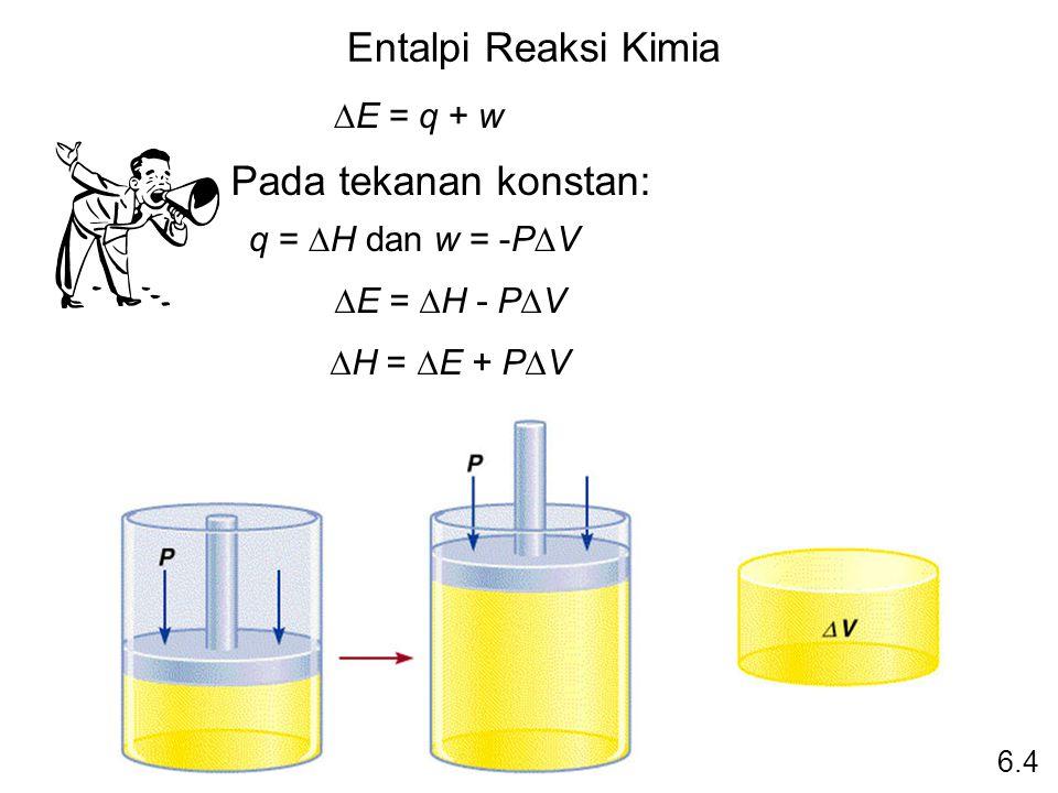 Entalpi Reaksi Kimia Pada tekanan konstan: DE = q + w