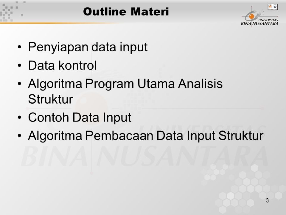 Algoritma Program Utama Analisis Struktur Contoh Data Input